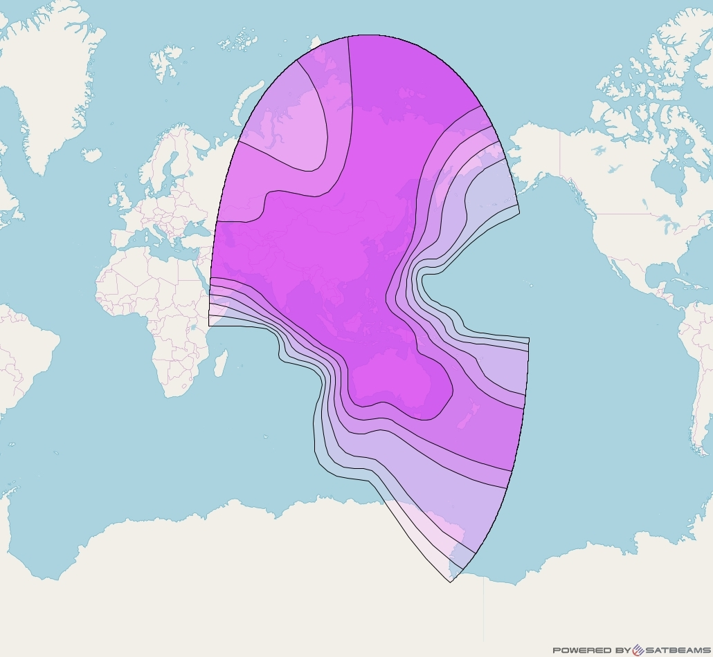 Asiasat 9 at 122° E downlink C-band Global beam coverage map