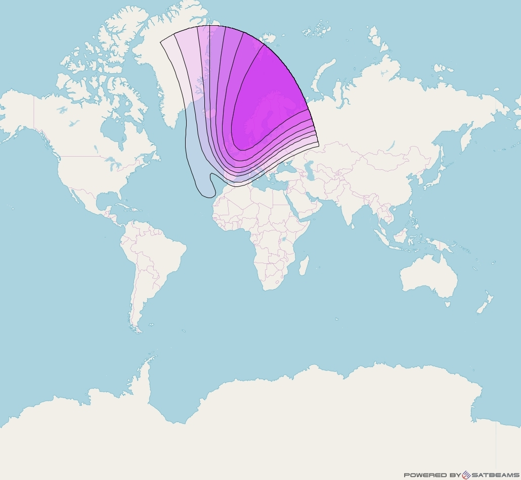 Intelsat 37e at 18° W downlink C-band Europe beam coverage map