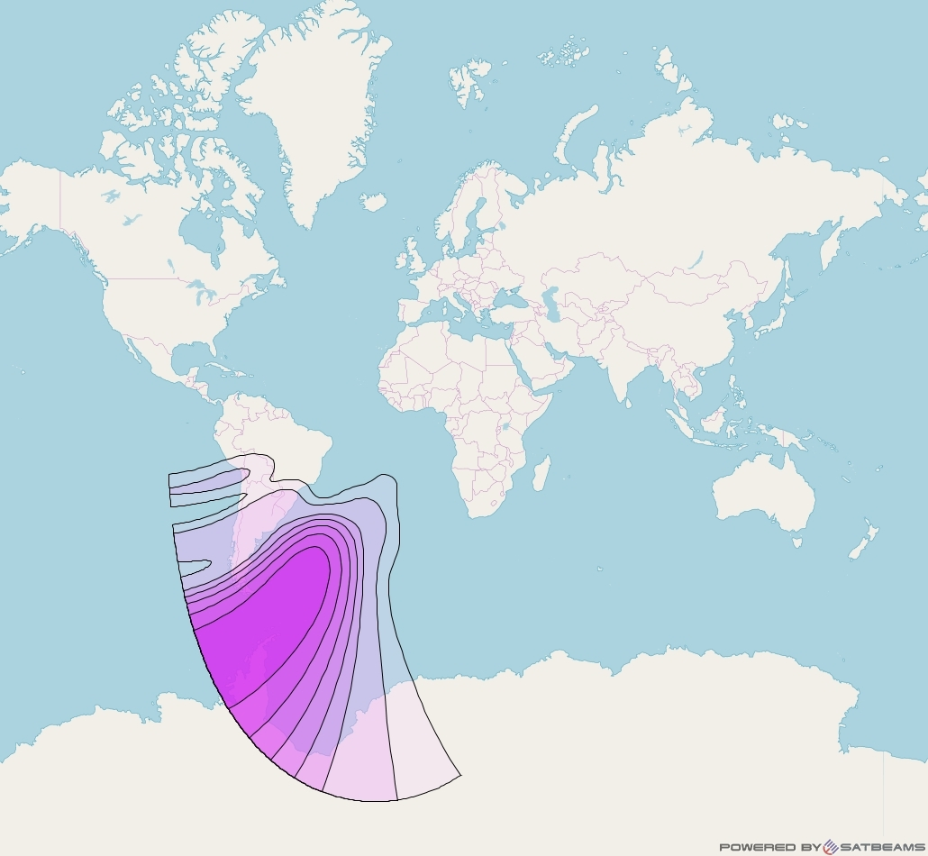 Intelsat 37e at 18° W downlink C-band Falkland Islands beam coverage map