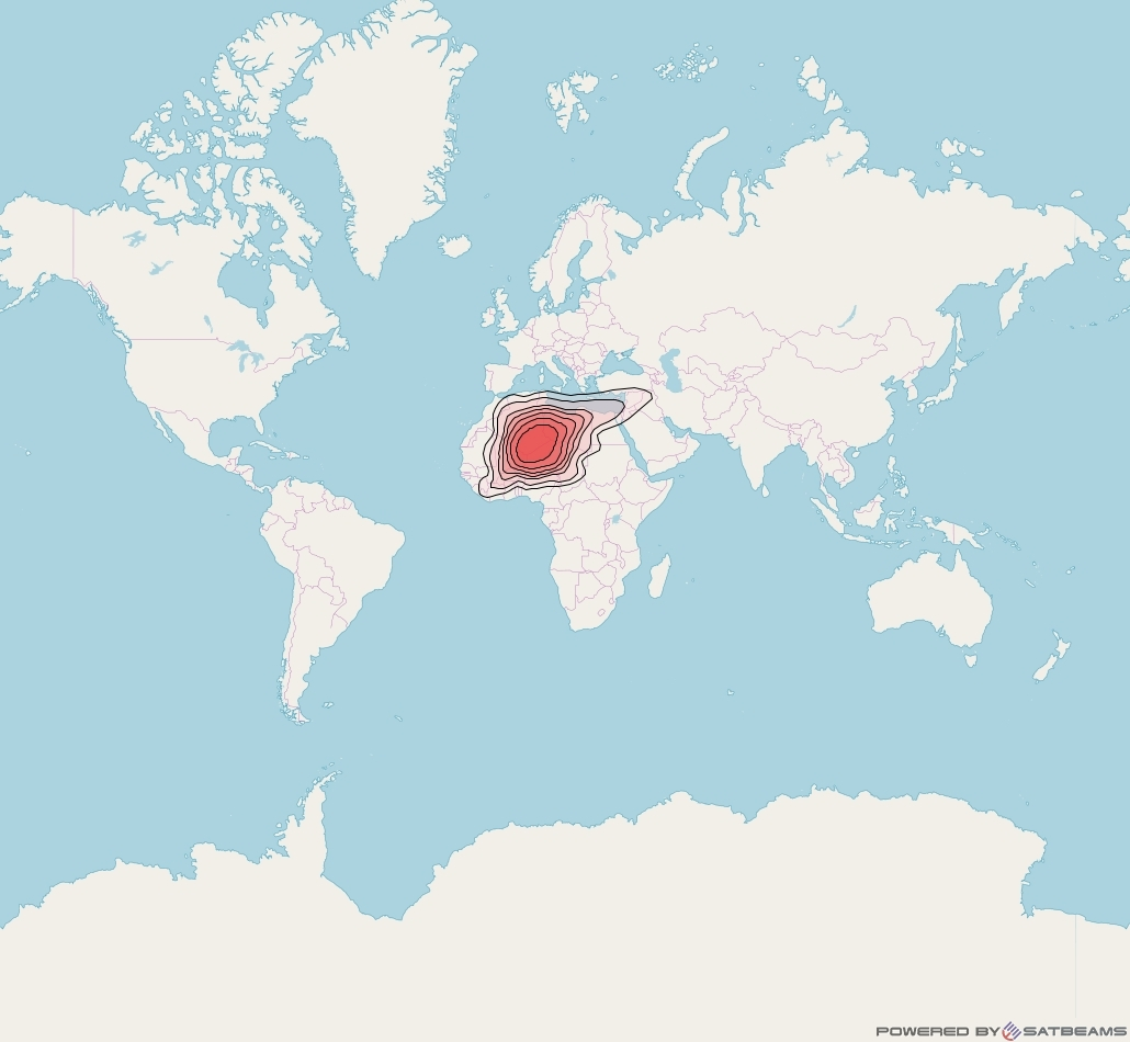 Intelsat 37e at 18° W downlink Ku-band Spot13 User beam coverage map