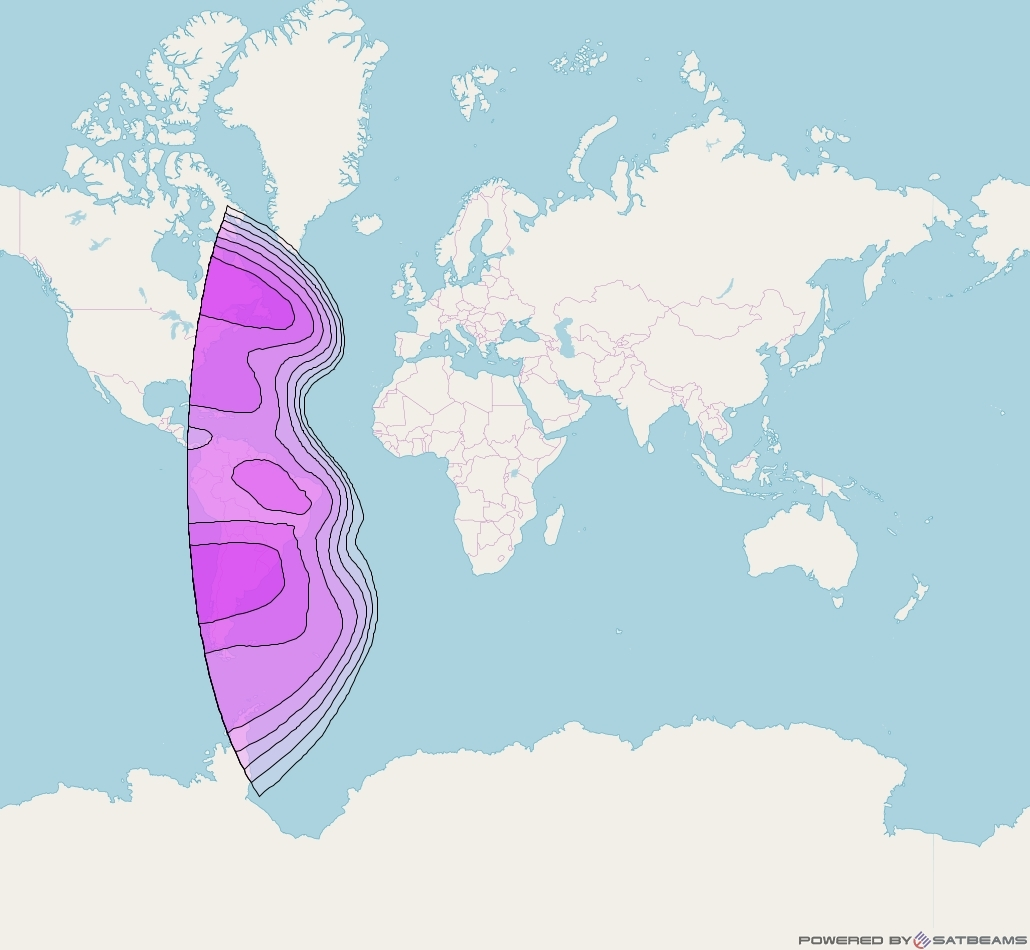 Intelsat 10-02 at 1° W downlink C-band West Hemi Beam coverage map