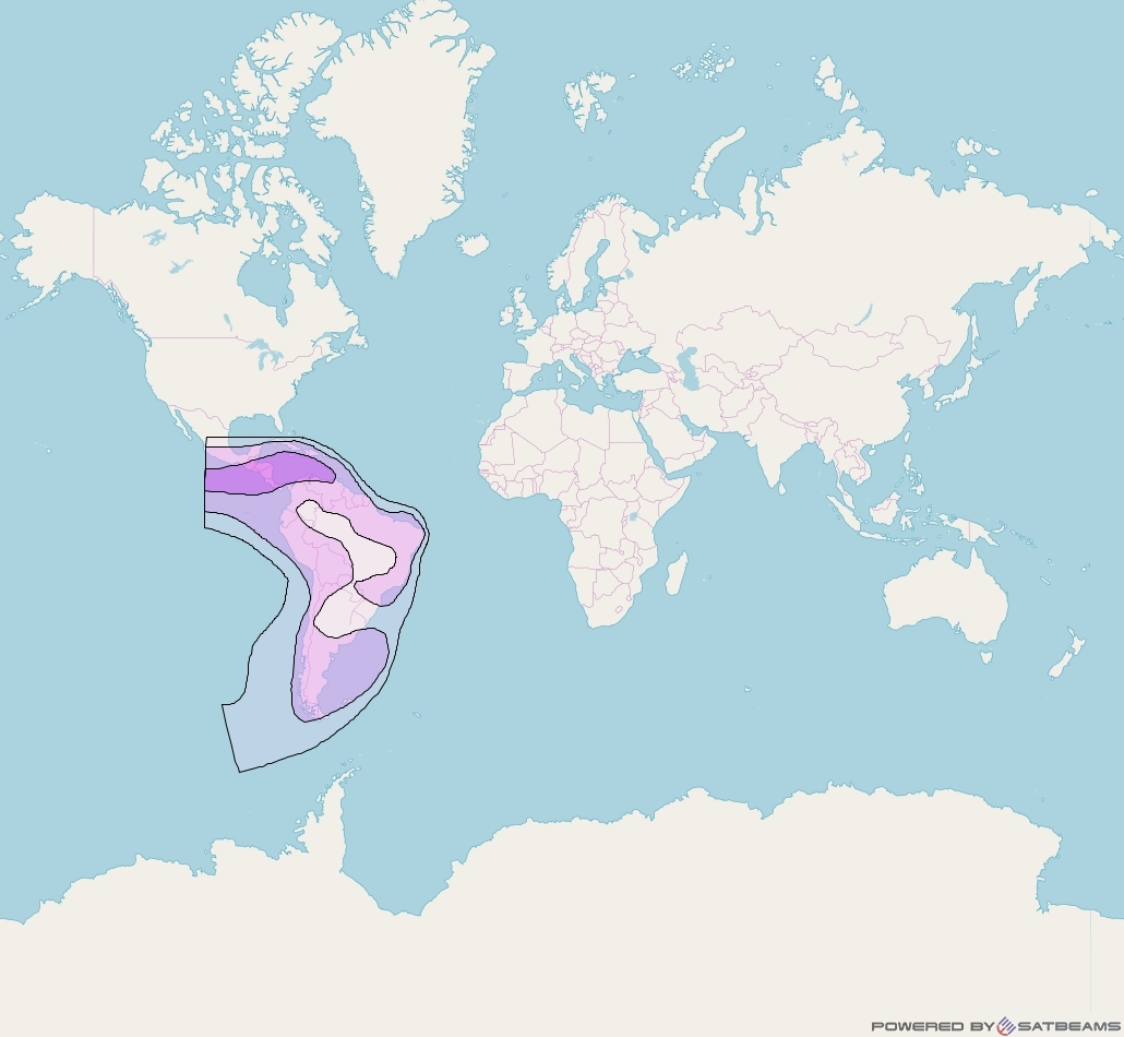 Intelsat 905 at 24° W downlink C-band South West Zone Beam coverage map