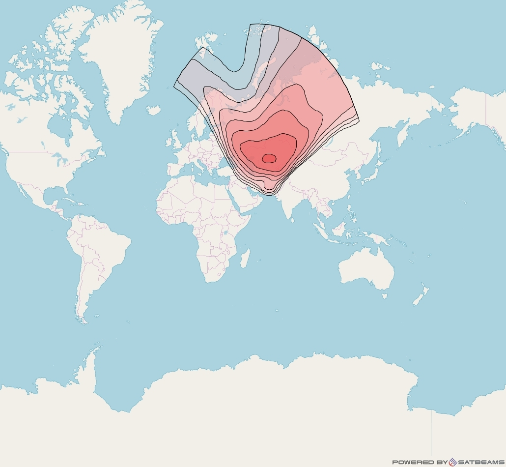 NSS 12 at 57° E downlink Ku-band Central Asia Beam coverage map