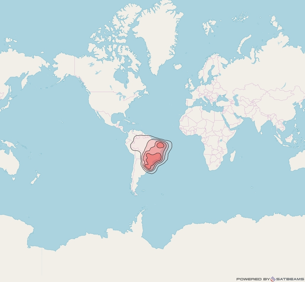 Star One D1 at 84° W downlink Ku-band Brazil beam coverage map